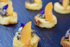 Brioche with blue cheese, balsamic onion and apricot (V)