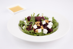 Salads - Beetroot, rocket, goat's cheese, walnut, white balsamic dressing (v)