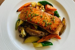 Main Course - Grilled lime butter salmon, served with grilled vegetables