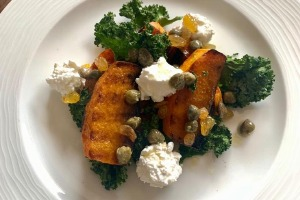 Main Course - Grilled pumpkin, steamed kale, cottage cheese with caper raisin sauce (v)