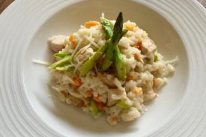 Main Course - Farm chicken risotto, asparagus, parmesan, crispy leeks